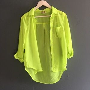 4/$25 Neon Green High-Low Sheer Button-Up Top